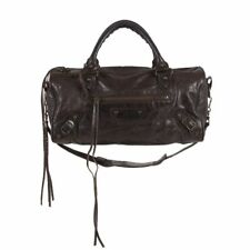 52387 auth BALENCIAGA brown distressed leather TWIGGY Motorcycle Shoulder Bag