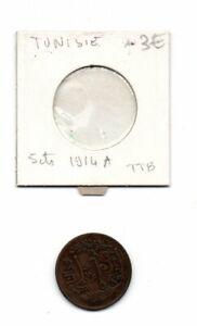 Tunisie -pièce de 5  centimes de 1914 A-voir état-