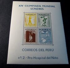 Souvenir Sheet Peru Stamp Scott# see note after C81a Olympics 1948 MNH C505