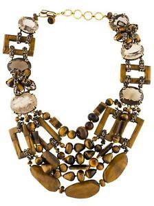 IRADJ MOINI Tiger's Eye Quartz Multi strand Necklace Statement Gold Tone