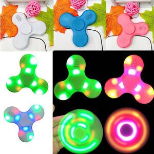 LED Light Bluetooth Speaker Finger Fidget Spinner Toy Pack, Micro SD, USB Charge