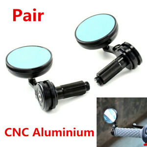 Pair 22mm Motorcycle Bar End Rearview Side Mirrors CNC Aluminium Blue Glass