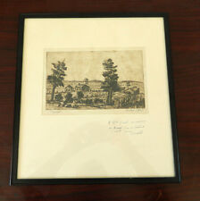 "Vintage Hand Drawing Sketch Art Picture - Signed B. East 1945, ""Paysage"""