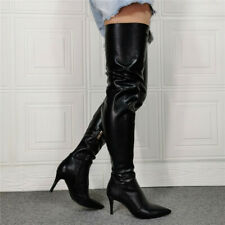 Ladies Pointy Toe Mid Heels Thigh High Boots Sexy Nightclub Long Boots Shoes 2-9