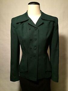 40's early 50's True Vintage Gabardine Jacket Green & Black Small Checks XS / S