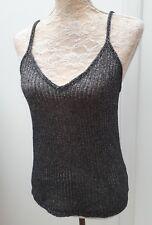 BNWT Topshop Ladies Size 16 Black Silver Sparkle Strappy Top Party Fashion Wear