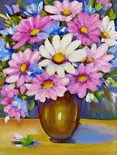 Pink Blue Daisies  Stillife Original  Flower Gardens Oil Painting Gift