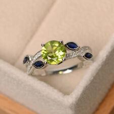 2.75 TCW Round Cut Green Peridot & Diamond Engagement Ring Solid 10k White Gold
