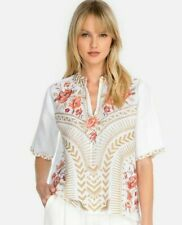 💕$215 JOHNNY WAS RIANNE WHITE LINEN EMBROIDERED BLOUSE TOP SZ XL BEAUTIFUL🌺