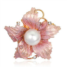 Amazing Females' Jewelry KC Gold Plated Pink Drip Pearl Rhinestone Brooch Pin