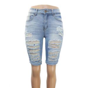 Women's Stretch Knee Length Denim Shorts Cuffed Ripped Jeans Skinny Capris Pants