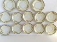 13 PC Rose China Occupied Japan Noritake Saucers Plate Floral Bouquet beige blue