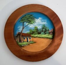 Costa Rica latin America Central Hand Painted Wood Display Plate signed