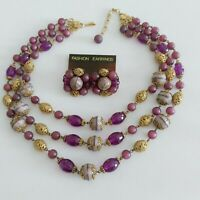 Vtg Freirich 3 Strand Mid-Century Necklace & Clip-on Earrings Purple Goldtone19""