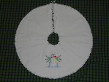 """SNOW ANGEL SNOWMAN Embroidered Tree Skirt,24"""",Christmas,Country, Prim, Winter"""