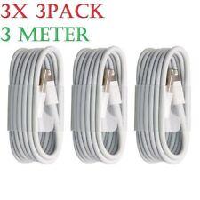 3X Extra Larga Plomo Cable de datos y sincronización USB 3 M Cargador Para iPhone 7 6 Ipad 8 X PLUS
