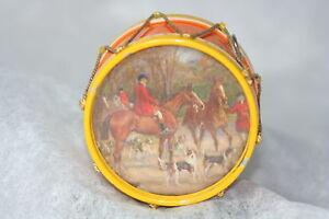 Original Antique c1900~~DRUM TAPE MEASURE~~Victorian FOX HUNTERS & MOUNTAIN VIEW