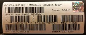 Intel BX80619I73960X SR0KF Core i7-3960X Processor Extreme Edition 15M Cache NEW