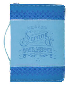 """Faux Leather Bible Cover- """"STRONG AND COURAGEOUS"""" - Medium - D25706"""