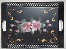 "Vtg 16"" Black Pink Roses Toleware Pierced Serving Tray Platter w/ Handles 3802"