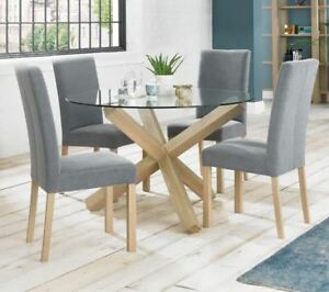 Solid Oak and Glass Round Dining Table - Contemporary Criss Cross Base
