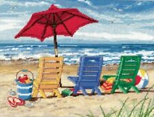 "Easy to Follow DIY Needlepoint Kit w/ Relaxing Beach Chair Pattern (16 x 12"")"
