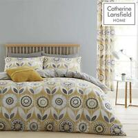 Catherine Lansfield Ochre Grey Floral Duvet Set Reversible Bedding Curtain Sheet