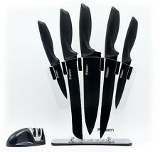 7 Piece Chef Knife Set w/ Knives Sharpener in Acrylic Block by KITCHEN PRECISION