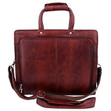 ZINT Men Women Genuine Leather Portfolio Bag Messenger Briefcase Office Satchel