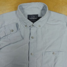 TOPMAN Light Blue Oxford 1 Pocket Button Down Rounded Club Collar Shirt S EUC