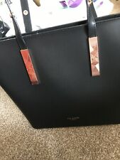 Ted Baker Large Black Leather Look Hobo Shoulder Bag BNWOT Rose Gold