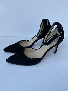 L.K Bennett Size 4 Navy Scallop Low Heel Pointed Toe Court Shoe Leather Insole