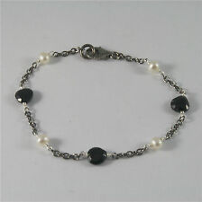 .925 BURNISHED SILVER BRACELET WITH WHITE FW PEARLS AND BLACK SPINEL 7,09 INCH