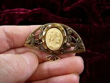 (CT1-35) tiny LADY CAMEO on fan brass IVORY COLOR Pin Pendant Jewelry brooch