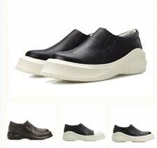 Genuine Leather Men's Slip On Loafers Match Color Hidden Platform Shoes Fashion