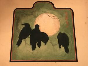 "Rare! Korin Ogata ""Crows and Moon"" 1930's Japanese Woodblock Print Unframed"