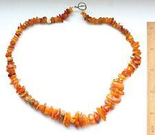 Vintage Amber Genuine Baltic Multicolor Egg Yolk Beads Necklace 23.2 g 波羅的海琥珀
