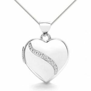 9ct White Gold Diamond Detail Heart Locket