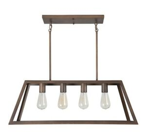 Yosemite Home Decor SkylineRidge 4Light Rubbed Bronze Island Light w/Metal Frame