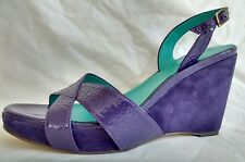 Womens Ladies Boden Purple Patent Leather Wedge Summer Sandals Size 7.5/41 New