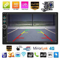 """7""""Double 2DIN USB/MP5 Player Bluetooth Car Radio Stereo FM Touch Screen w/Camera"""