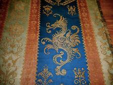 Antique French Heraldic Griffin Cotton Linen Jacquard Fabric ~ Blue Sienna Sage