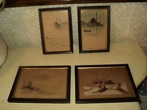 4 ANTIQUE INK AND WATER COLOR PAINTINGS 1890-1900 TURKEY PERA*FRAMED*GLASS