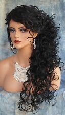 LACE FRONT LONG CURLEY  WIG CLR #1 BLACK ELEGANT SEDUCTIVE STYLE USA SELLER 224