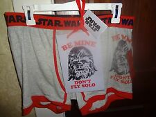 Men's Star Wars Chewbacca BOXER BRIEF LARGE Be Mine Don't Fly Solo short NEW