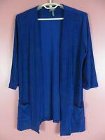 STK3821- CHICO'S TRAVELERS Women's Slinky Knit Open Front Jacket Pocket 1 S M