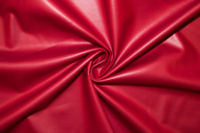 Matte Red Pleather Faux Leather Stretch Polyester Lycra Spandex Fabric BTY