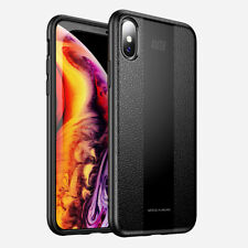 For iPhone XS Shockproof Ultra SLIM Luxury PU Leather Rugged Black Case Cover