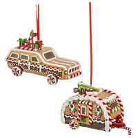 Set/2 GANZ Station Wagon Camper Candy Gingerbread Christmas Tree Ornaments Decor