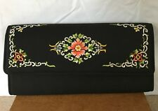 Vintage Beautiful Black Clutch Purse With Embroiding/ Needlepoint Floral Design